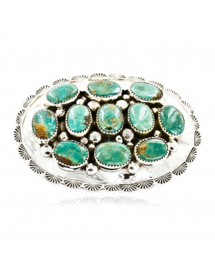 Certified Authentic Nuggets Navajo .925 Sterling Silver Natural Turquoise Native American Buckle 10527-1