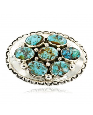 Certified Authentic Nuggets Navajo .925 Sterling Silver Natural Turquoise Native American Buckle 10527-2