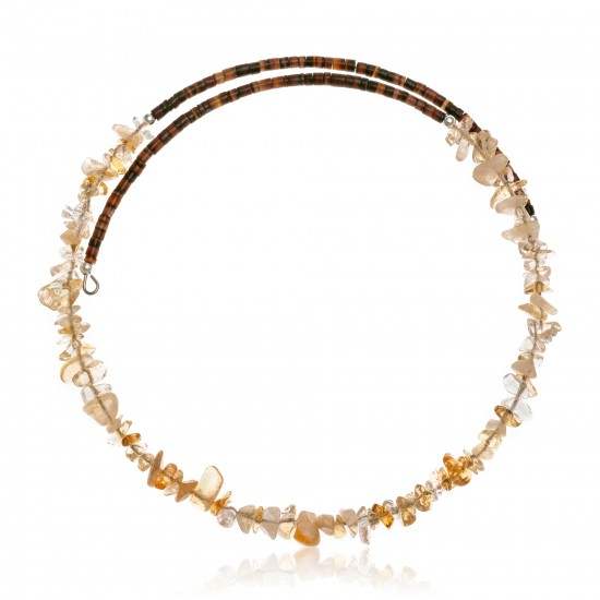 Citrine Certified Authentic Navajo Native American Adjustable Choker Wrap Necklace 25566 All Products NB180926223236 25566 (by LomaSiiva)