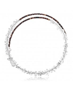 Clear Quartz Certified Authentic Navajo Native American Adjustable Choker Wrap Necklace 25569