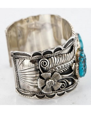 Large Collectable Handmade Certified Authentic Navajo .925 Sterling Silver Coral Turquoise Signed Native American Cuff Bracelet 12471
