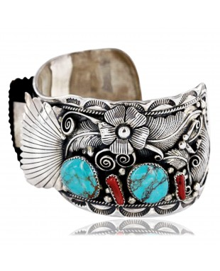 Collectable Handmade Certified Authentic Navajo .925 Sterling Silver Coral Turquoise Signed Native American Watch Cuff Bracelet 390822858662
