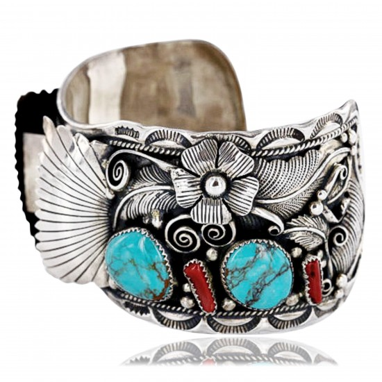 Collectable Handmade Certified Authentic Navajo .925 Sterling Silver Coral Turquoise Signed Native American Watch Cuff Bracelet 390822858662 All Products 390822858662 390822858662 (by LomaSiiva)