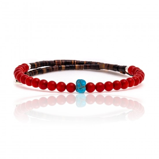 Coral and Natural Turquoise Certified Authentic Navajo Native American Adjustable Wrap Bracelet 22133 All Products 371183569149 22133 (by LomaSiiva)
