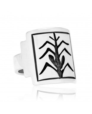 Corn Stalk .925 Sterling Silver Certified Authentic Handmade Hopi Native American Ring 26231