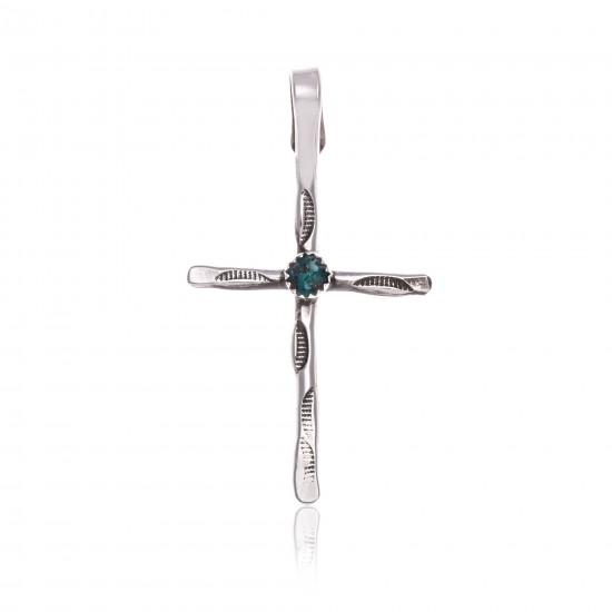 Cross .925 Sterling Silver Certified Authentic Handmade Navajo Native American Natural Turquoise Pendant 24373 Pendants 390983003295 24373 (by LomaSiiva)
