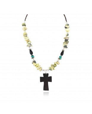Cross .925 Sterling Silver Certified Authentic Navajo Natural Turquoise Green Jasper Black Onyx Native American Necklace 750238-6