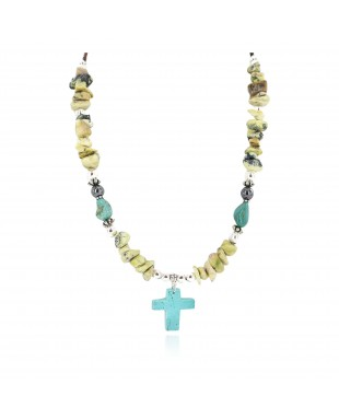 Cross .925 Sterling Silver Certified Authentic Navajo Natural Turquoise Green Jasper Native American Necklace 750241-3
