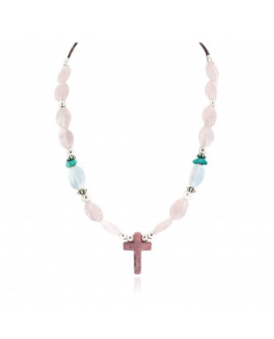 Cross .925 Sterling Silver Certified Authentic Navajo Natural Turquoise Opalite Pink Quartz Charoite Native American Necklace 750237-10