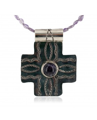 Cross .925 Sterling Silver Nickel Handmade Certified Authentic Navajo Natural Turquoise Purple Spiny Oyster Amethyst Native American Necklace 18224-1-750200