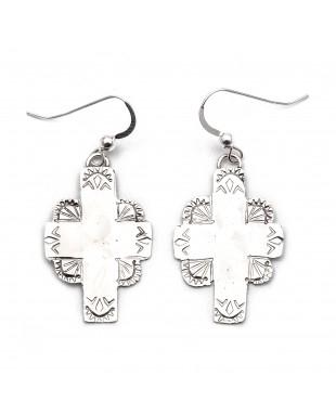 Cross Sun .925 Starling Silver Certified Authentic Handmade Navajo Native American Earrings  27263