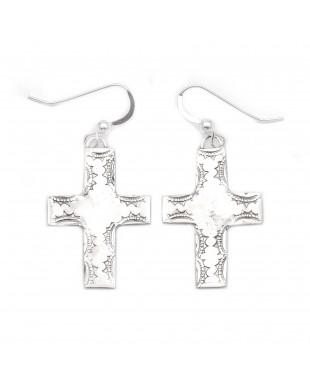 Cross Sun .925 Starling Silver Certified Authentic Handmade Navajo Native American Earrings  27264