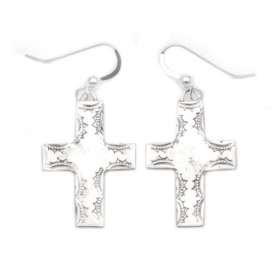 Cross Sun .925 Starling Silver Certified Authentic Handmade Navajo Native American Earrings  27264 All Products NB180607034133 27264 (by LomaSiiva)