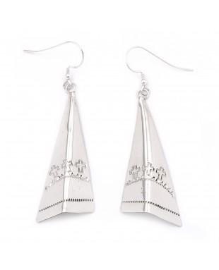 Cross Sun .925 Starling Silver Certified Authentic Handmade Navajo Native American Earrings  27265-2