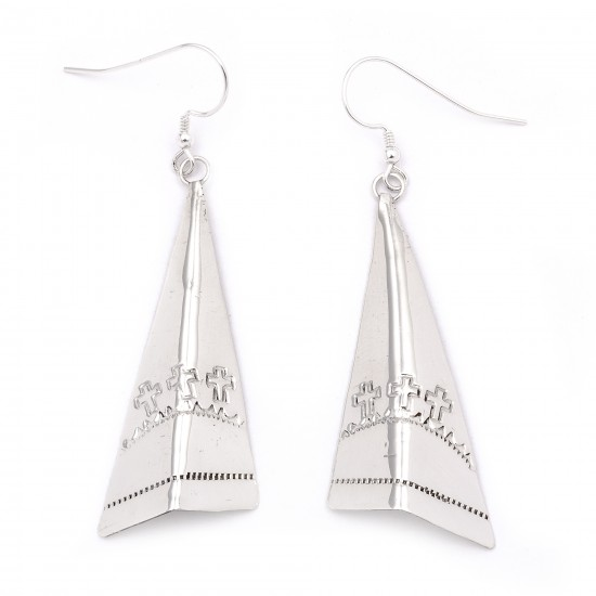 Cross Sun .925 Starling Silver Certified Authentic Handmade Navajo Native American Earrings  27265-2 All Products NB180607034123 27265-2 (by LomaSiiva)