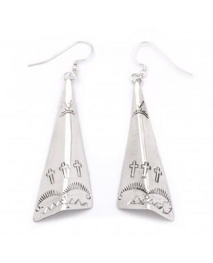 Cross Sun Mountain .925 Starling Silver Certified Authentic Handmade Navajo Native American Earrings  27265-7
