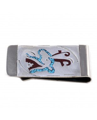 Deer .925 Sterling Silver Ray Begay Certified Authentic Handmade Navajo Native American Natural Turquoise Coral Money Clip 11253-12