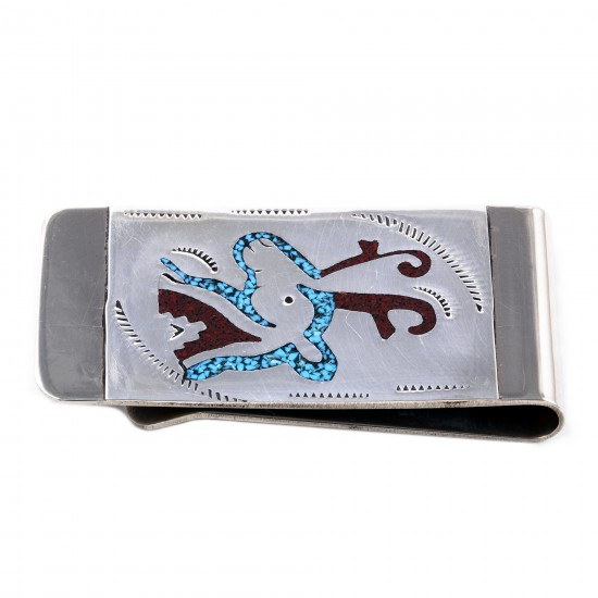 Deer .925 Sterling Silver Ray Begay Certified Authentic Handmade Navajo Native American Natural Turquoise Coral Money Clip 11253-12 All Products NB180528224714 11253-12 (by LomaSiiva)
