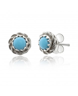 Delicate .925 Sterling Silver Certified Authentic Handmade Navajo Native American Natural Turquoise Stud Earrings  27228