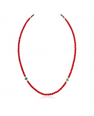 Delicate .925 Sterling Silver Certified Authentic Navajo Native American Natural Turquoise Coral Necklace 15975-250