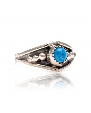 Denim Lapis .925 Sterling Silver Certified Authentic Navajo Native American Handmade Ring 13204-3