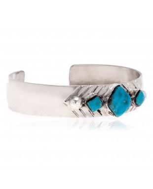 Diamond Nickel Certified Authentic Handmade Navajo Native American Natural Turquoise Bracelet 13061-1