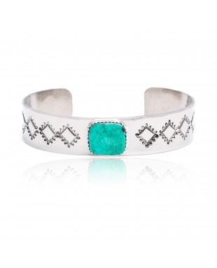 Diamond Nickel Certified Authentic Handmade Navajo Native American Natural Turquoise Cuff Bracelets 13019-9