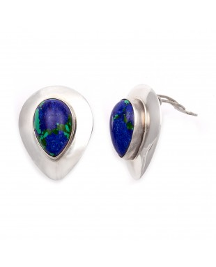 Drop .925 Starling Silver Certified Authentic Handmade Navajo Native American Chrysocolla Earrings  18315-3