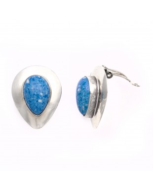 Drop .925 Starling Silver Certified Authentic Handmade Navajo Native American Lapis Denim Earrings  18315-6