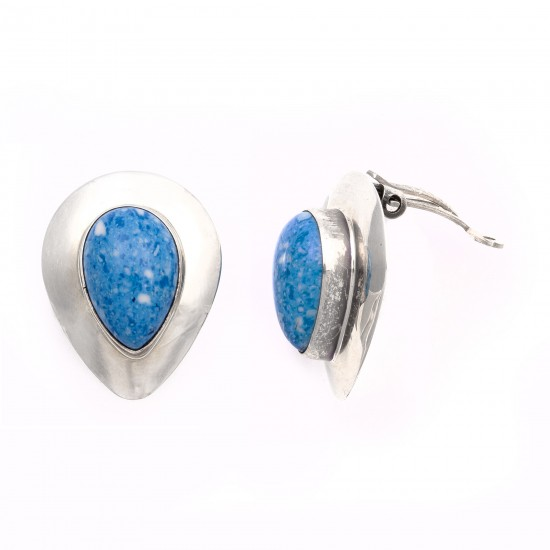 Drop .925 Starling Silver Certified Authentic Handmade Navajo Native American Lapis Denim Earrings  18315-6 All Products NB180607034146 18315-6 (by LomaSiiva)