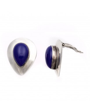 Drop .925 Starling Silver Certified Authentic Handmade Navajo Native American Lapis lazuli Earrings  18315-5