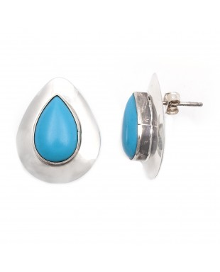 Drop .925 Starling Silver Certified Authentic Handmade Navajo Native American Natural Turquoise Earrings  18315-2