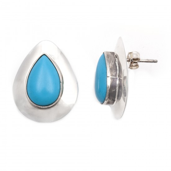 Drop .925 Starling Silver Certified Authentic Handmade Navajo Native American Natural Turquoise Earrings  18315-2 All Products NB180607034142 18315-2 (by LomaSiiva)