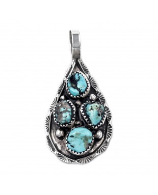 Drop .925 Starling Silver Certified Authentic Handmade Navajo Native American Natural Turquoise Nugget Pendent  16048-100