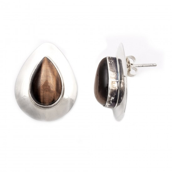 Drop .925 Starling Silver Certified Authentic Handmade Navajo Native American Tigers Eye Earrings  18315-1 All Products NB180607034141 18315-1 (by LomaSiiva)