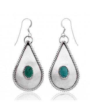 Drop Natural Turquoise .925 Sterling Silver Certified Authentic Navajo Native American Handmade Dangle Earrings 27269