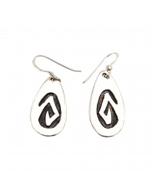 Drop Snake .925 Sterling Silver Certified Authentic Handmade Navajo Native American Earrings 18311-2