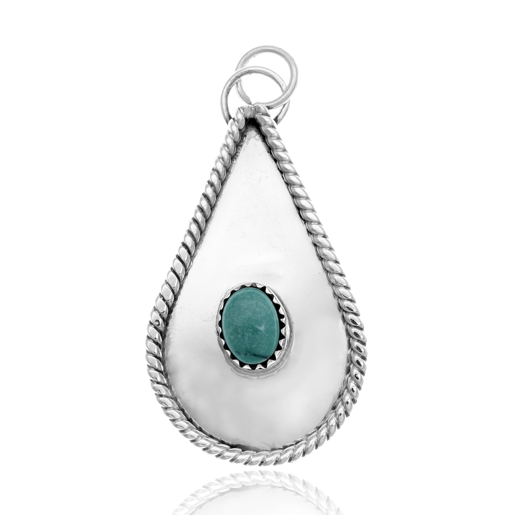 Drop Turquoise .925 Sterling Silver Certified Authentic Navajo Native American Handmade Pendant 24553 Pendants NB181211210602 24553 (by LomaSiiva)