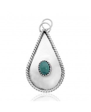 Drop Turquoise .925 Sterling Silver Certified Authentic Navajo Native American Handmade Pendant 24553
