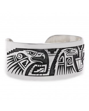 Eagle .925 Sterling Silver Certified Authentic Handmade Hopi Native American Cuff Bracelet 13229