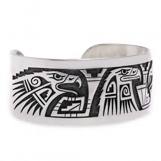 Eagle .925 Sterling Silver Certified Authentic Handmade Hopi Native American Bracelet 13229 All Products NB180616000210 13229 (by LomaSiiva)