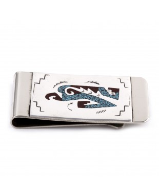 Eagle .925 Sterling Silver Certified Authentic Handmade Navajo Native American Natural Turquoise Coral Chip Inlay Money Clip 11253-16
