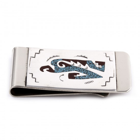 Eagle .925 Sterling Silver Certified Authentic Handmade Navajo Native American Natural Turquoise Coral Chip Inlay Money Clip 11253-16 All Products NB180604230723 11253-16 (by LomaSiiva)
