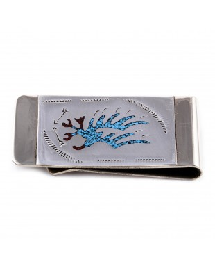 Eagle .925 Sterling Silver Ray Begay Certified Authentic Handmade Navajo Native American Natural Turquoise Coral Money Clip 11253-8