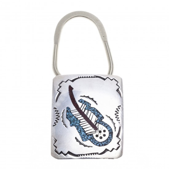 Feather .925 Sterling Silver Certified Authentic Handmade Navajo Native American Natural Turquoise Coral Keychain 10290-5 All Products NB180618212861 10290-5 (by LomaSiiva)