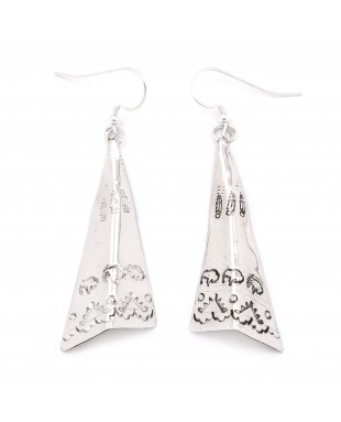 Feather Buffalo Teepee .925 Starling Silver Certified Authentic Handmade Navajo Native American Earrings  27265-1
