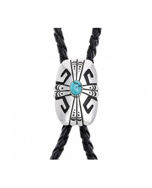 Feather Sun .923 Sterling Silver Certified Authentic Handmade Navajo Native American Natural Turquoise Bolo Tie 24535