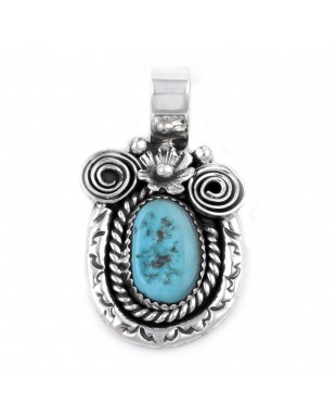 Flower .925 Sterling Silver Certified Authentic Handmade Navajo Native American Natural Turquoise Pendant  27257