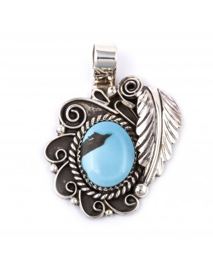 Flower and Leaf .925 Sterling Silver Certified Authentic Handmade Navajo Native American Natural Turquoise Pendant  1503