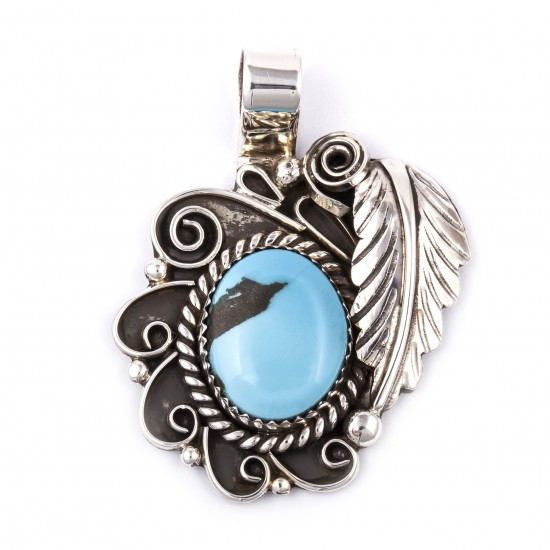 Flower and Leaf .925 Sterling Silver Certified Authentic Handmade Navajo Native American Natural Turquoise Pendant  1503 All Products NB180523235830 1503 (by LomaSiiva)